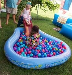 Ball pit game for 1st birthday party. See more first boy birthday and party ideas at one-stop-party-id...