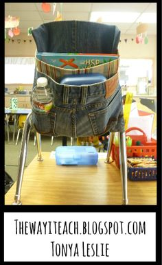 Seat Pouch Video Tutorial:  Upcycle Denim and repurpose those jeans into a durable student seat pouch.