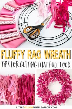 A simple how to make a rag wreath tutorial includes tips and tricks to create a full and fluffy DIY wreath. This easy craft project creates a vibrant DIY wreath with lots of texture and color. A perfect wreath for Valentine's day, or any holiday, just c Valentine Day Wreaths, Valentine Day Crafts, Wreath Crafts, Diy Wreath, Wreath Making, Tulle Wreath, Wreath Ideas, Rag Wreath Tutorial, Diy Tutorial