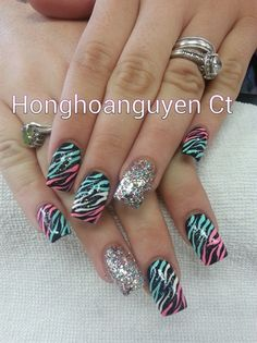 neon zebra and glitter by honghoanguyenct - Nail Art Gallery nailartgallery.nailsmag.com by Nails Magazine www.nailsmag.com #nailart
