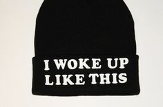 20% OFF- Black Beanie with words, Black Flawless beanie, grunge, slouch beanie, beanie with letters, Beyonce Beanie, I woke up like this