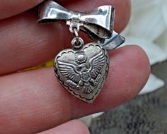 VINTAGE Sterling Sweetheart PUFFY Heart Charm Lapel Brooch Pin US Army Militaria