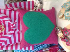 Pink and green heart pillow. Happy valentines gift at snappy turtle $56.00