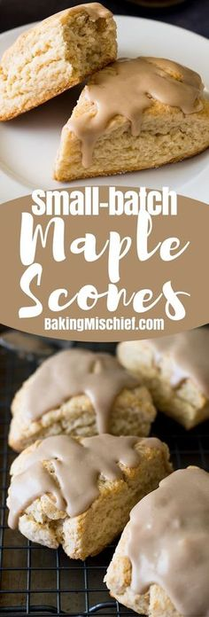 This small batch of Maple Scones is perfect for a last-minute brunch. The cream … This small batch of Maple Scones is perfect for a last-minute brunch. The cream scones are quick and easy to make, and you'll want to eat this maple glaze with a spoon! Köstliche Desserts, Delicious Desserts, Yummy Food, Maple Dessert Recipes, Jewish Desserts, Maple Syrup Recipes, Lemon Desserts, Ma Baker, Small Batch Baking