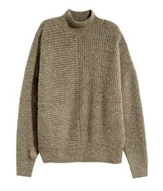 Check this out! Loose-fit sweater in a soft rib knit with alpaca wool content Mock turtleneck and heavily dropped shoulders. - Visit hm.com to see more.