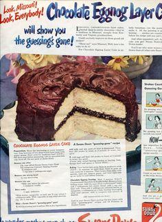 Vintage 1940's Swans Down Cake Flour - Chocolate Eggnog Cake