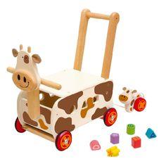 Chariot d'activités en bois Vache