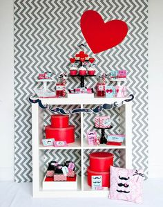 Red Heart & Chevron Valentine's Day Backdrop
