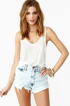 High Waisted Jean Shorts & White Top