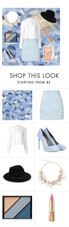 """""""💙💙"""" by spookie1 ❤ liked on Polyvore featuring Balmain, Helmut Lang, Miu Miu, Saks Fifth Avenue, Elizabeth Arden, Dolce&Gabbana and Sephora Collection"""