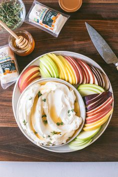 Just whip the package off goat cheese and drizzle more honey ontop. This Honey Whipped Goat Cheese with Apple Slices made with Montchevre Flavored Goat Cheese Logs is perfect for all snacking Honey Recipes, Gourmet Recipes, Appetizer Recipes, Appetizers, Cooking Recipes, Dessert Recipes, Cooking Fish, Ham Recipes, Dessert Bread