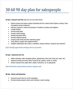 30 60 90 Day Plan Template Sales Manager Google Search 306090