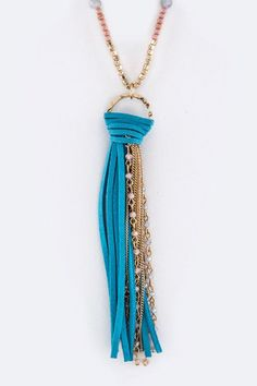 Beautiful Suede And Beads Tassels Necklace!! These Suede And Beads Tassels Necklace are a MUST HAVE! Designed with premium high quality material! You can get this beautiful Necklace, but only for a li