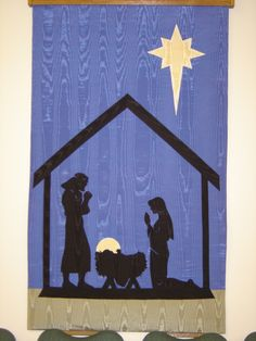 Advent banner, The Manger, I made for First Presbyterian Church, Lake Charles, Louisiana