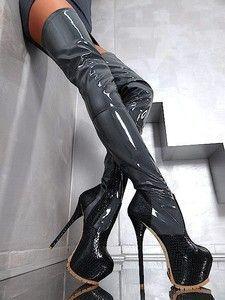 thigh high black/pewter sky high platform boots <3 #highheelbootsthigh #highheelbootsplatform #platformhighheelslatex