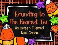 Halloween themed task cards to practice rounding to the nearest ten. Grades 1-3 ~ The Vivacious Teacher