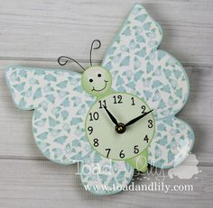 Turquoise Blue and Green Floral Butterfly Wooden by ToadAndLily