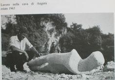 1965 anonimo fotografia B.N (lavoro nella cava di Angera scultore Douli e pitt. Besozzi)