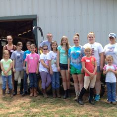Campers by the tractor.