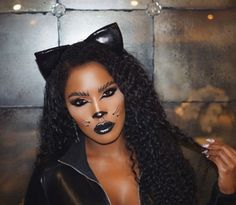 Cat Makeup Tonight's makeup inspired by the talented & Pretty Halloween Costumes, Cat Halloween Makeup, Cat Makeup, Clown Makeup, Halloween Looks, Cat Costumes, Halloween 2019, Halloween Stuff, Spooky Halloween