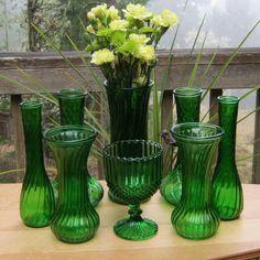 8 Piece Vase Set in Emerald Green - Lot B. $40.00, via Etsy.