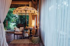 Gloria bamboo) arriving in June Parasol Base, Garden Parasols, Outdoor Spaces, Outdoor Decor, World Of Interiors, Al Fresco Dining, Outdoor Settings, East London, Gold Paint