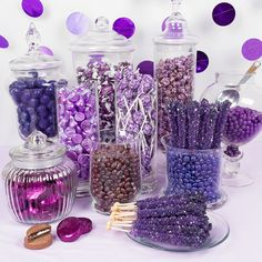 Just Candy purple bulk colored candy will match your theme and they are the perfect addition to your candy buffet or candy table. Chocolate Malt, Chocolate Covered Oreos, Candy Bar Decoracion, Purple Candy Buffet, Sweet 16 Party Decorations, Purple Birthday Decorations, Purple Party Favors, Buffet Dessert, Purple Themes