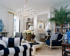 This Ralph Lauren Living Room is brilliant! I love the elegant kick of blue and tropical touches. The blue and white stripes are  carried through the space beautifully. The gold accents add a touch of glamour.
