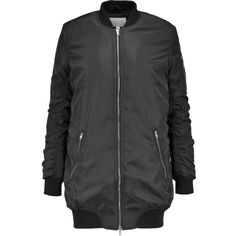 W118 by Walter Baker - Talia Quilted Shell Bomber Jacket ($109) ❤ liked on Polyvore featuring outerwear, jackets, black, quilted bomber jacket, w118 by walter baker, flight jacket, padded bomber jacket and zip bomber jacket