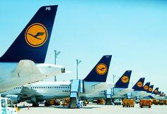 Lufthansa aircraft at Munich Airport in 2010.