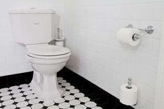 Perrin & Rowe Art Deco Bathroom feat Perrin & Rowe tapware, bathroomware and accessories Bathroom Gallery Black And White Bathroom Floor, White Bathroom Interior, White Interior Design, College Bathroom Decor, Art Deco Bathroom, Bathroom Gallery, Bathroom Cladding, Bathroom Flooring, Classic Bathroom