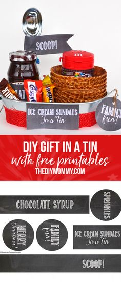 DIY Gift In A Tin! Give the gift of an Ice Cream Sundae Bar - perfect for Christmas or a fun night at home. We've included a list of ideas for your tin and FREE Printable Labels and Tags. Diy Father's Day Gifts, Tin Gifts, Easy Gifts, Food Gifts, Christmas Ice Cream, Christmas Baking, Printable Labels, Free Printable, Christmas Traditions