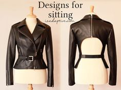Separating Leather Jacket. IZ Adaptive Designs for people using wheelchairs.