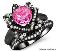 2.23k round pink sapphire lotus flower diamond engagement ring - My Engagement Ring