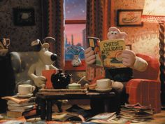 "Wallace and Gromit having tea and planning their ""Grand Day Out"""
