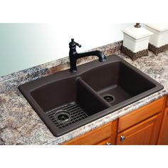 Glacier bay double bowl granite kitchen sink espresso 401102 franke granite kitchen sinks undermount when you are remodeling your kitchen you have several choices in virtually every workwithnaturefo