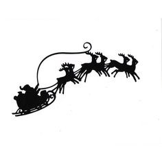 LARGE Santa Sleigh reindeer Silhouette die cut for scrapbooking or... ($0.85) ❤ liked on Polyvore featuring home, home decor, holiday decorations and holiday reindeer decorations