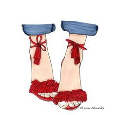 @Accessories Aquazzura shoes #lookbook #fashionbook #fashionstyle #Aquazzura #red sandals #summer #lovestyle #loveshoes #cute #drawing by @leoniealexandra1