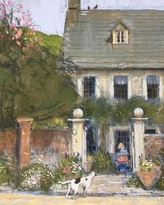 Through the gate #pastel#drawing#countryhouse#garden#dog#spring#