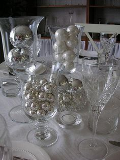Black, white, silver table setting