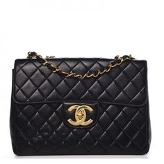 1e1b272a804f This is an authentic CHANEL Lambskin Quilted Jumbo Single Flap in Black.  This is an