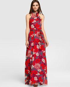 Vestido de fiesta de mujer Tintoretto largo con estampado floral