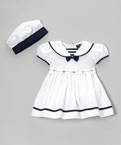 White Sailor Dress & Hat - Infant, Toddler & Girls by Fouger for Kids #zulily #zulilyfinds