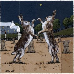 'Harvest Hares' by contemporary Welsh artist David Day.