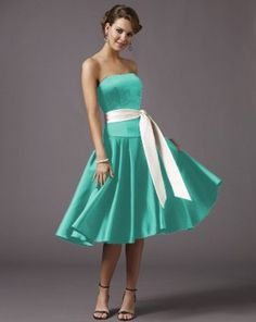 I like the white sash with the Tiffany blue dress. Although, I think straps would be a good idea. Tiffany Blue Bridesmaid Dresses, Tiffany Blue Dress, Tea Length Bridesmaid Dresses, Wedding Bridesmaids, Prom Dresses, Pink Wedding Theme, Wedding Party Dresses, Dream Wedding, Wedding Attire