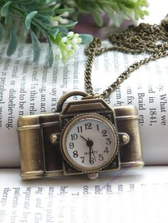 Pretty retro copper camera pocket watch necklace pendant vintage style