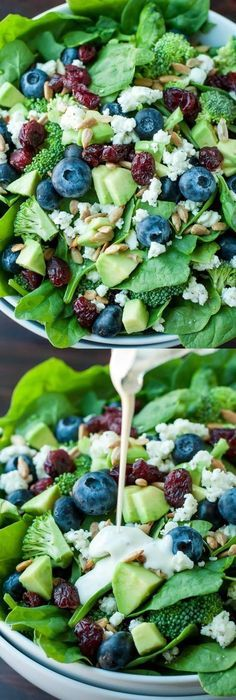 This Blueberry Broccoli Spinach Salad is a perfect match for a healthy  party option.