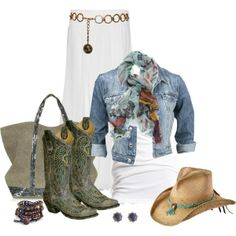 Cowgirl outfit!!! Toss the skirt for some shorts or jeans and I am all for it