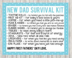 First Father's Day New Dad Survival Kit in by PrintspirationalArt - pinnere Fathers Day Poems, First Fathers Day, Fathers Day Gifts, New Dad Survival Kit, Survival Gear, Survival Supplies, Survival Skills, Survival Equipment, Wilderness Survival