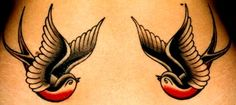 Traditional Swallow Tattoo- I want this tattoo- just one swallow though, not two. On my inner forearm....